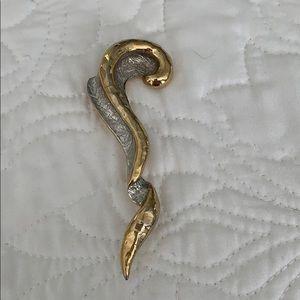 ART DECO unique brooch in gold and silver tones